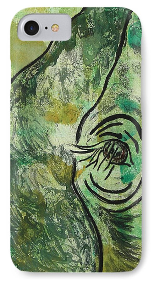 Monotype IPhone 7 Case featuring the mixed media Never Forgotten by Cori Solomon
