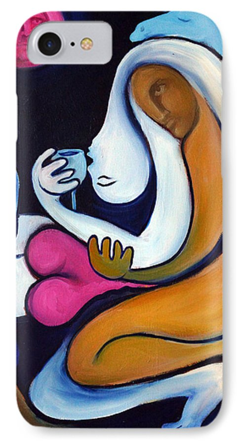 Abstract IPhone 7 Case featuring the painting Never Tear Us Apart by Valerie Vescovi