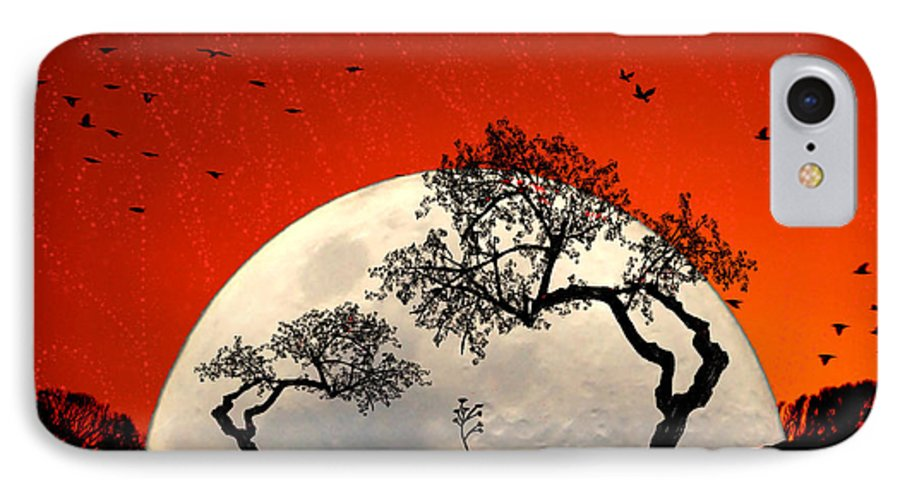 Moon IPhone 7 Case featuring the digital art New Growth New Hope by Holly Kempe