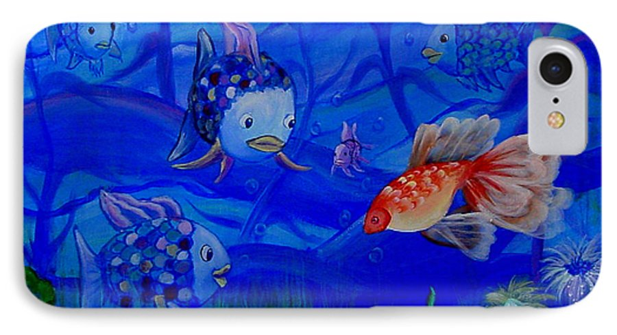 Fish IPhone 7 Case featuring the painting New Kid In Town by Quwatha Valentine