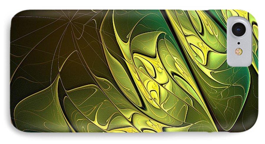 Digital Art IPhone 7 Case featuring the digital art New Leaves by Amanda Moore