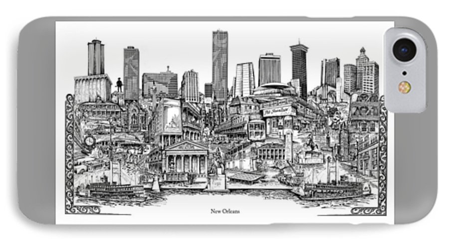 City Drawing IPhone 7 Case featuring the drawing New Orleans by Dennis Bivens