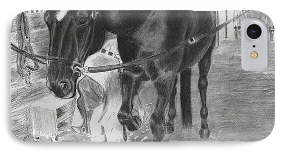 Horse IPhone 7 Case featuring the drawing New Shoes by Quwatha Valentine