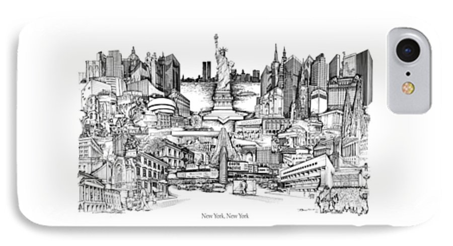 City Drawing IPhone 7 Case featuring the drawing New York by Dennis Bivens
