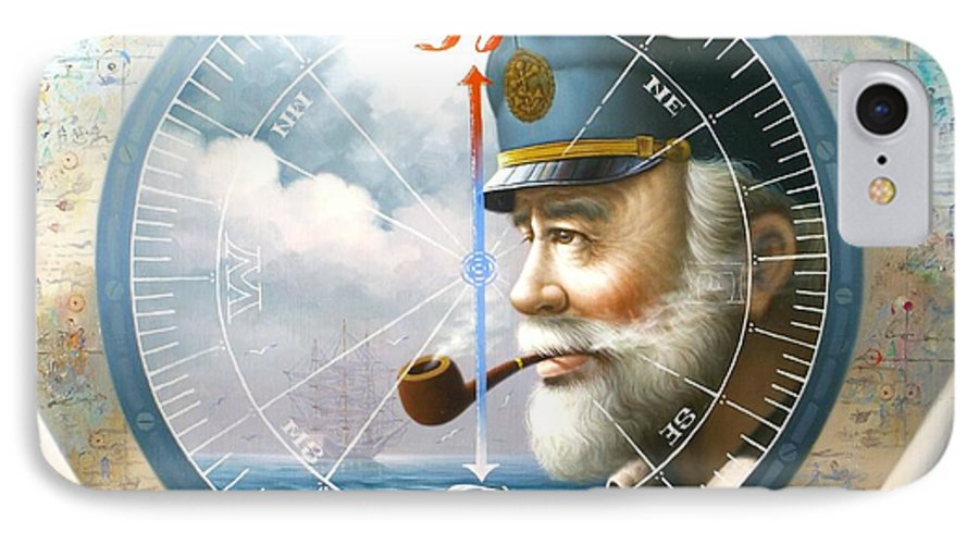 Sea Captain IPhone 7 Case featuring the painting News Map Captain Or Sea Captain by Yoo Choong Yeul