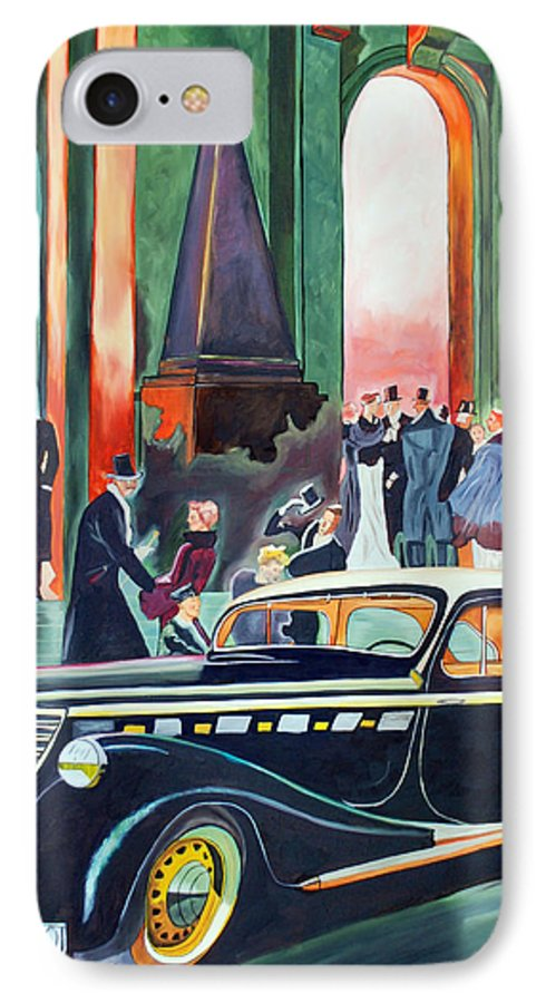 Car IPhone 7 Case featuring the painting Night At The Theater by Margaret Fortunato