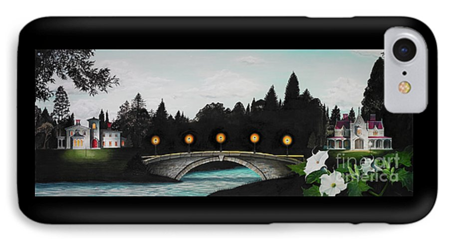 Architecture IPhone 7 Case featuring the painting Night Bridge by Melissa A Benson