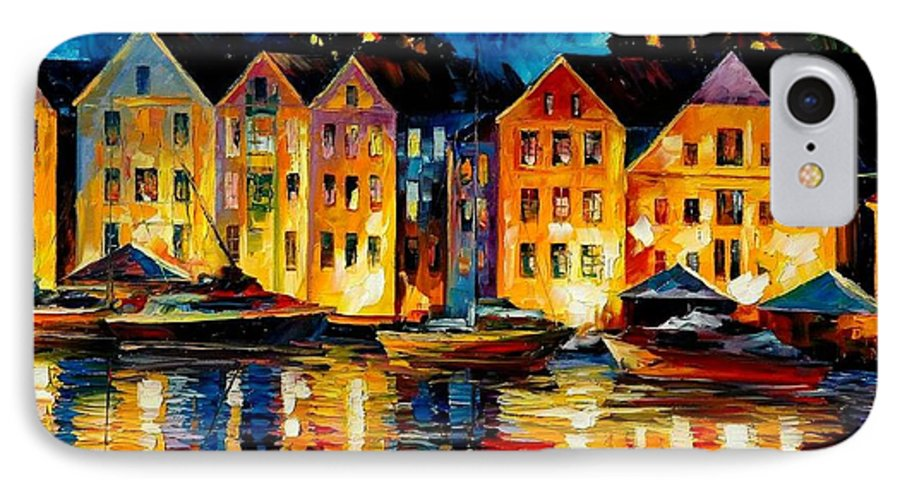 City IPhone 7 Case featuring the painting Night Resting Original Oil Painting by Leonid Afremov