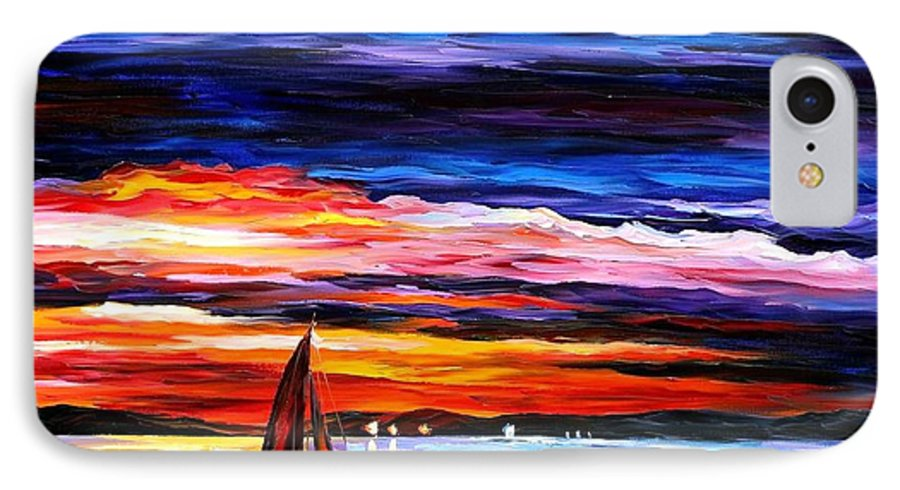 Seascape IPhone 7 Case featuring the painting Night Sea by Leonid Afremov