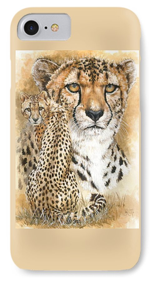 Cheetah IPhone 7 Case featuring the mixed media Nimble by Barbara Keith