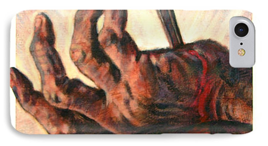 Christ IPhone 7 Case featuring the painting No Greater Love by John Lautermilch