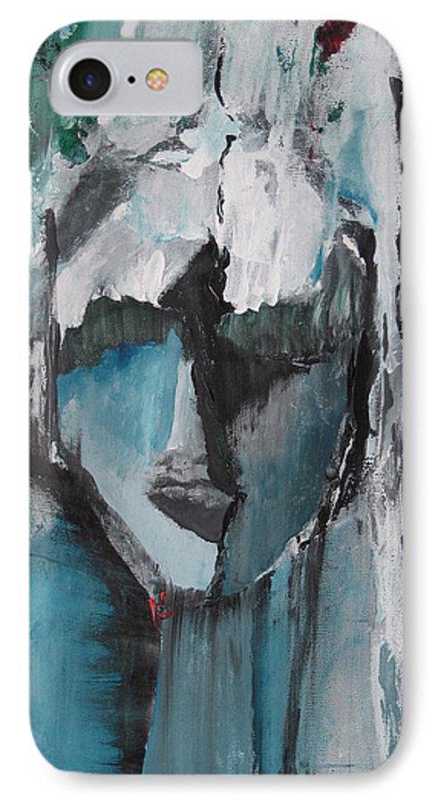 Abstract Acrylic Blue Darkestartist Nobody Portrait Darkest Artist Face IPhone 7 Case featuring the painting Nobody by Darkest Artist