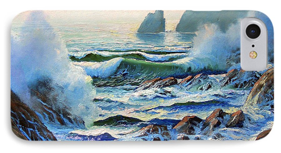 Seascape IPhone 7 Case featuring the painting North Coast Surf by Frank Wilson