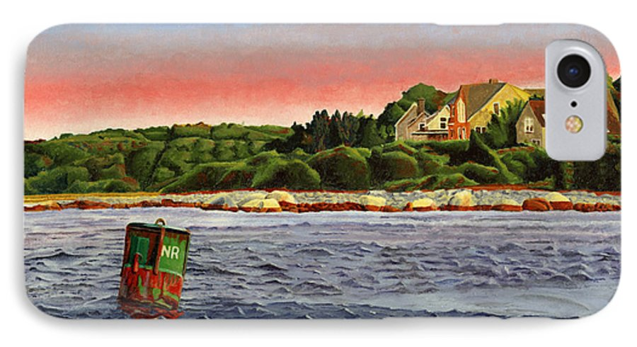 River IPhone 7 Case featuring the painting North River At Sunset by Dominic White