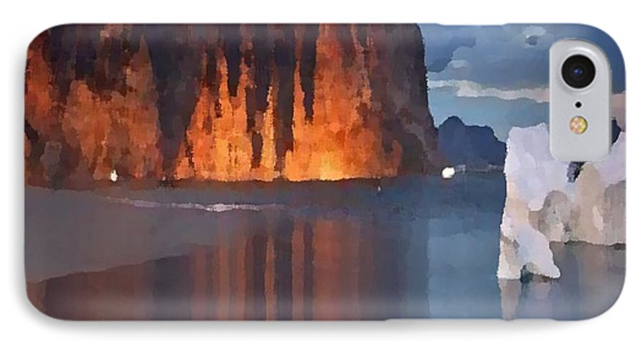 North.rock.iceberg.sea.sky.clouds.cold.landscape.nature.rest.silence IPhone 7 Case featuring the digital art North Silence by Dr Loifer Vladimir