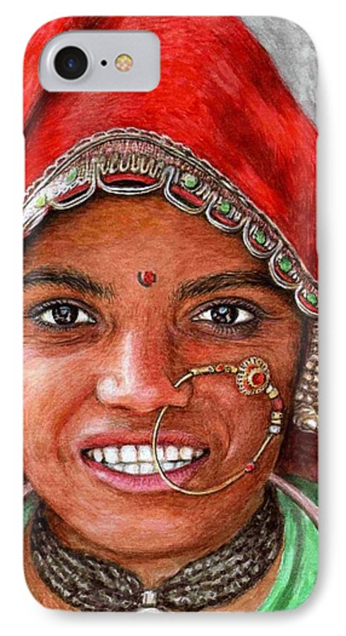Woma IPhone 7 Case featuring the painting Northindian Woman by Nicole Zeug