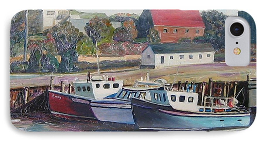 Nova Scotia IPhone 7 Case featuring the painting Nova Scotia Boats by Richard Nowak