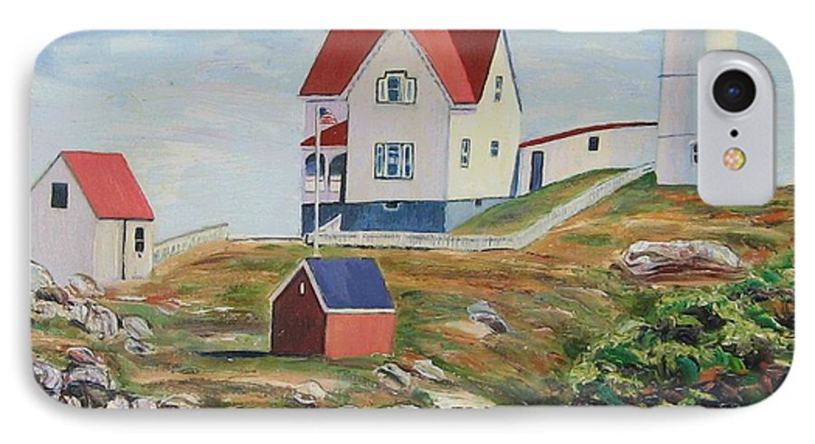 Nubble Light House IPhone 7 Case featuring the painting Nubble Light House Maine by Richard Nowak