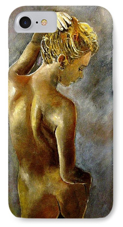 Girl Nude IPhone 7 Case featuring the painting Nude 27 by Pol Ledent