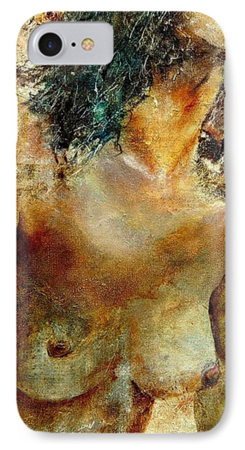 Girl Nude IPhone 7 Case featuring the painting Nude 34 by Pol Ledent