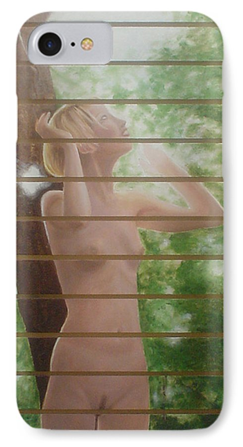 Realistic IPhone 7 Case featuring the painting Nude Forest by Angel Ortiz