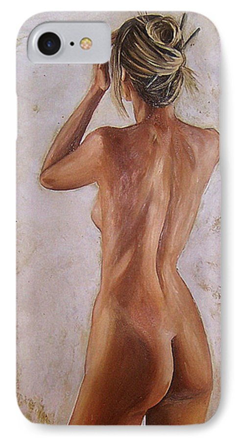 Nude IPhone 7 Case featuring the painting Nude by Natalia Tejera