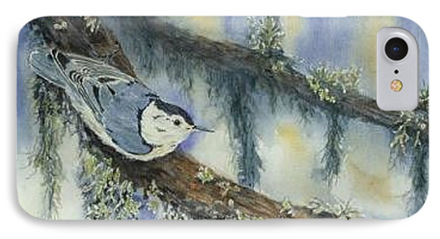 Nuthatch IPhone 7 Case featuring the painting Nuthatch by Dolores Fegan