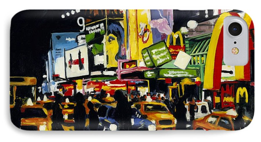 New York IPhone 7 Case featuring the painting Nyc II The Temple Of M by Robert Reeves