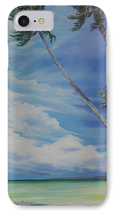 Trinidad And Tobago Seascape IPhone 7 Case featuring the painting Nylon Pool Tobago. by Karin Dawn Kelshall- Best