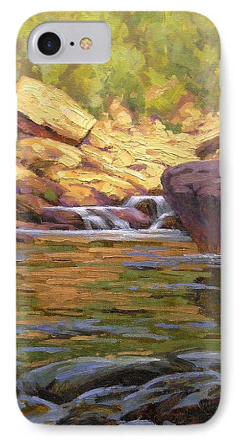 Water Scene IPhone 7 Case featuring the painting Oak Creek Tributary by Cody DeLong
