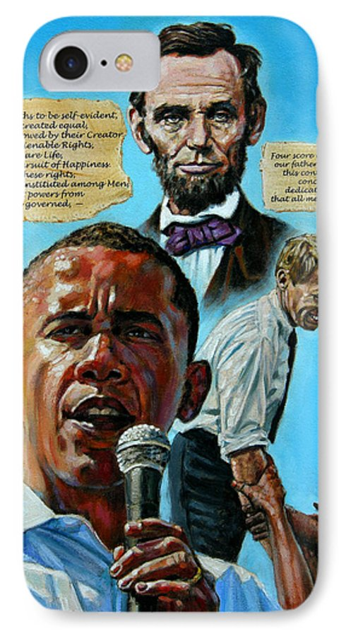 Obama IPhone 7 Case featuring the painting Obamas Heritage by John Lautermilch