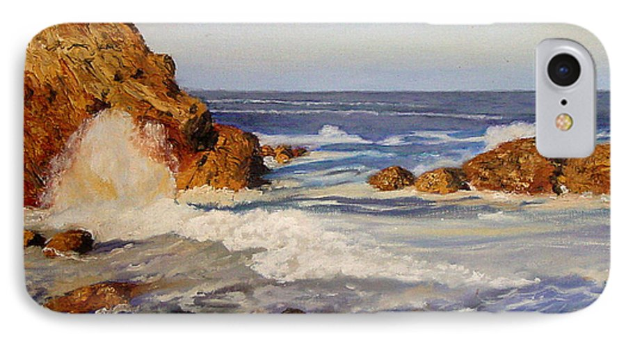 Seascape IPhone 7 Case featuring the painting Ocean Rock by Quwatha Valentine