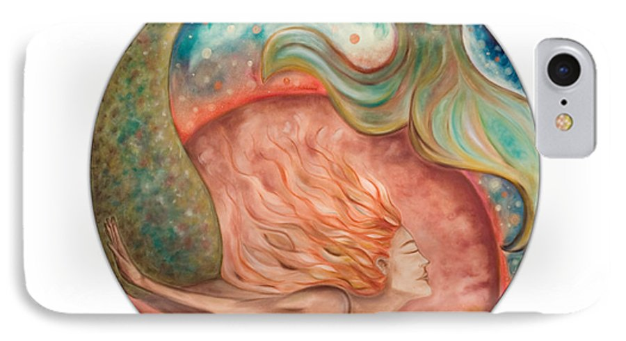 Ocean Spirit Inspiration Art Soul Spiritual IPhone 7 Case featuring the painting Ocean Spirit by Moira Gil
