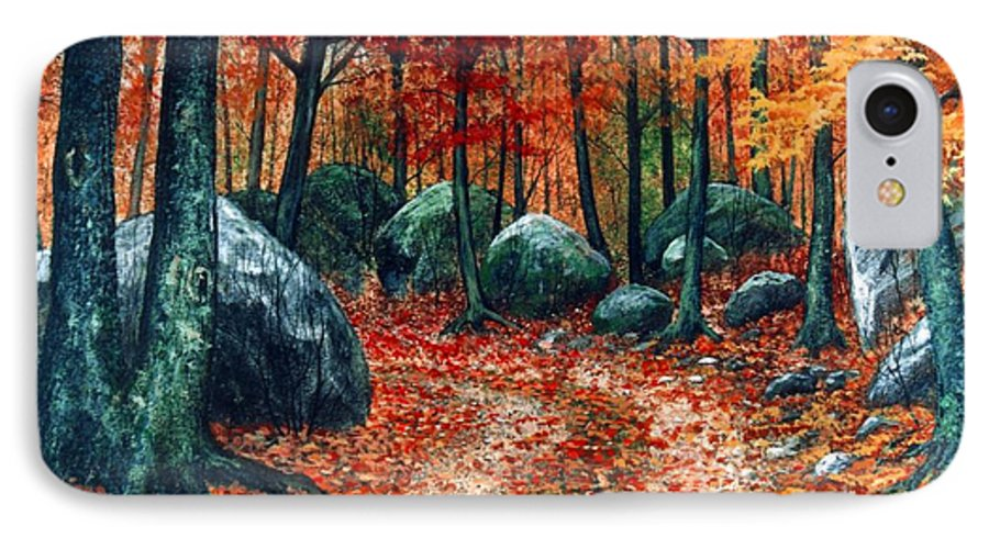 Landscape IPhone 7 Case featuring the painting October Woodland by Frank Wilson