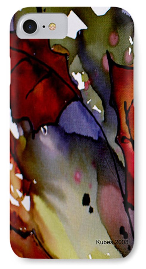 Leaf IPhone 7 Case featuring the mixed media Octoberfirst by Susan Kubes