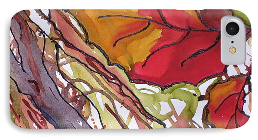 Leaf IPhone 7 Case featuring the mixed media Octobersecond by Susan Kubes