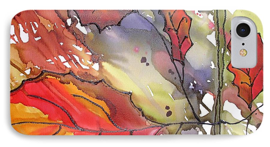 Leaf IPhone 7 Case featuring the mixed media Octoberthird by Susan Kubes