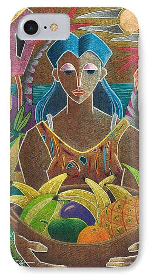 Female IPhone 7 Case featuring the painting Ofrendas De Mi Tierra by Oscar Ortiz