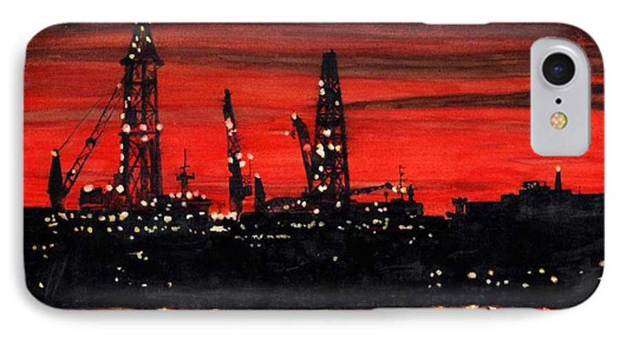 Cityscape IPhone 7 Case featuring the painting Oil Rigs Night Construction Portland Harbor by Dominic White