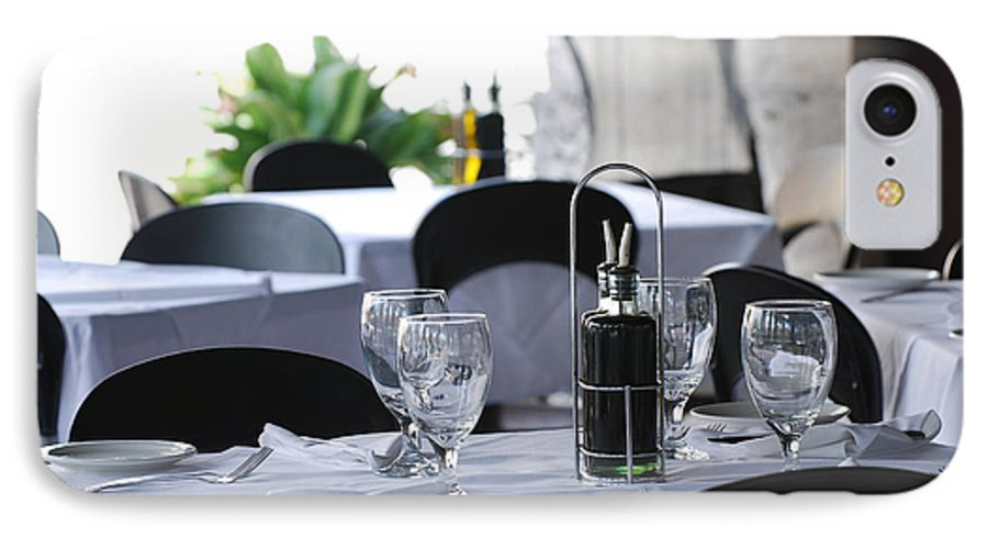 Tables IPhone 7 Case featuring the photograph Oils And Glass At Dinner by Rob Hans