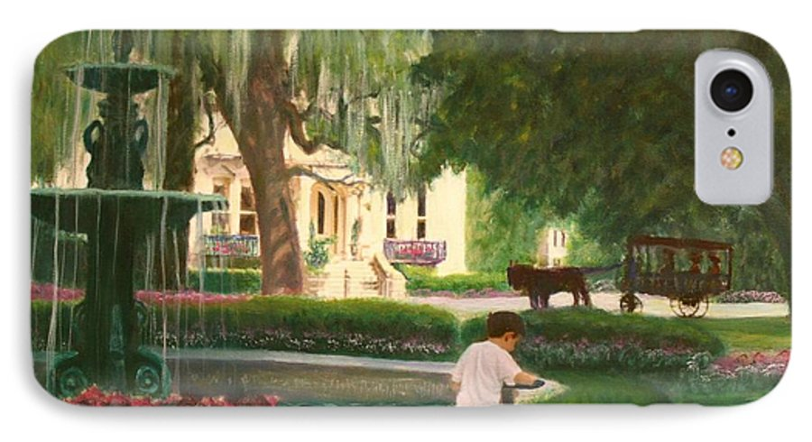 Savannah; Fountain; Child; House IPhone 7 Case featuring the painting Old And Young Of Savannah by Ben Kiger