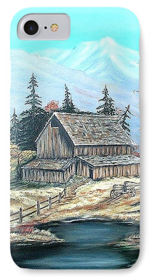 Landscape Pond Wagon Old Trees Mountain IPhone 7 Case featuring the painting Old Barn Above The Pond by Kenneth LePoidevin