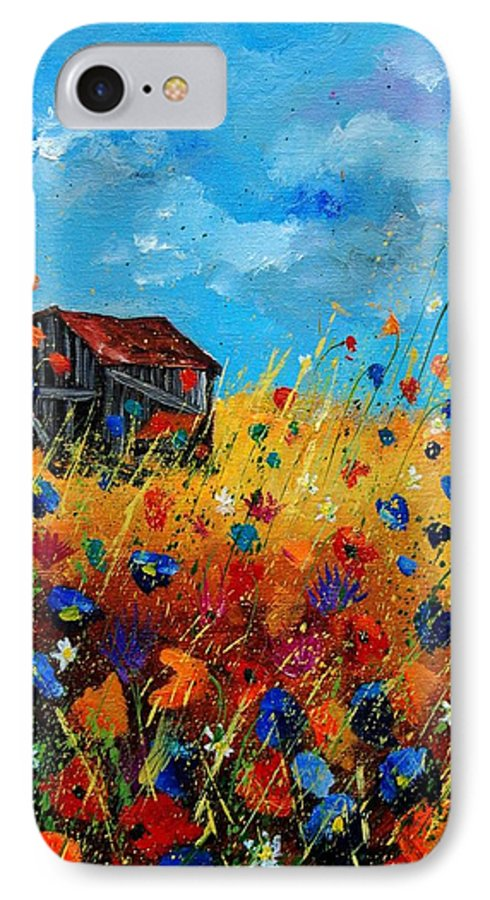 Poppies IPhone 7 Case featuring the painting Old Barn by Pol Ledent