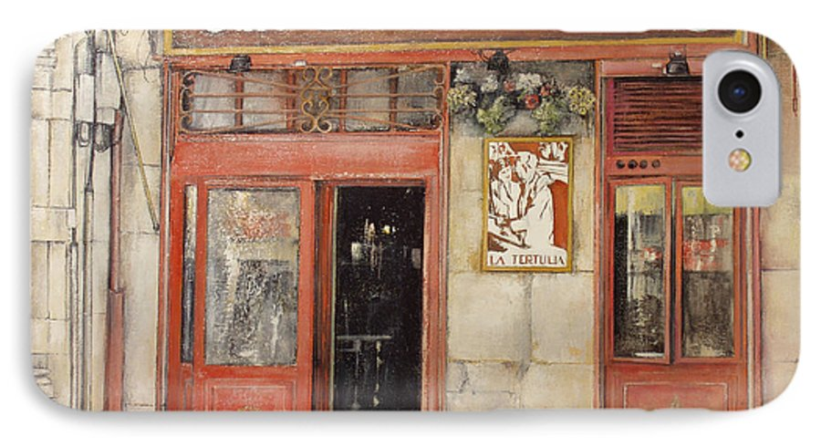 Cafe IPhone 7 Case featuring the painting Old Cafe- Santander Spain by Tomas Castano