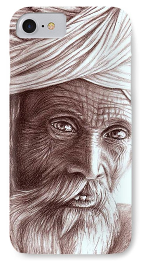 Man IPhone 7 Case featuring the drawing Old Indian Man by Nicole Zeug