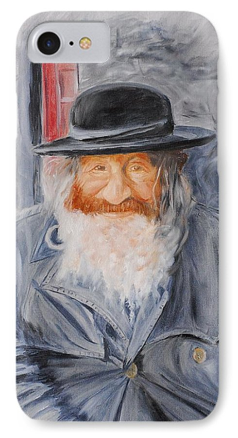 Jerusalem IPhone 7 Case featuring the painting Old Man Of Jerusalem by Quwatha Valentine