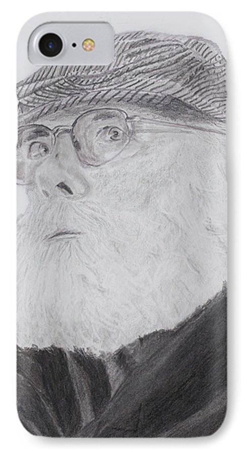 Portrait IPhone 7 Case featuring the drawing Old Man With Beard by Quwatha Valentine