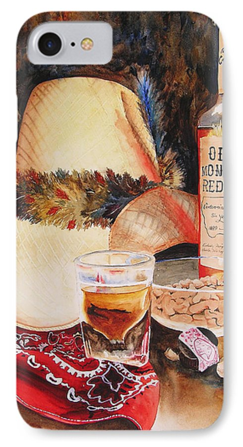 Whiskey IPhone 7 Case featuring the painting Old Montana Red Eye by Karen Stark