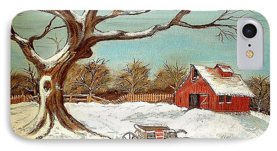 Old Tree Barn Wheelbarrow Snow Winter Painting IPhone 7 Case featuring the painting Old Tree And Barn by Kenneth LePoidevin