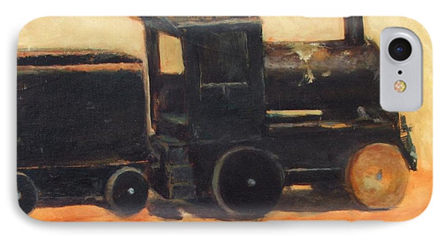 Trains IPhone 7 Case featuring the painting Old Wood Toy Train by Chris Neil Smith